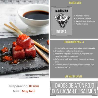 Dados atún rojo con caviar de salmón